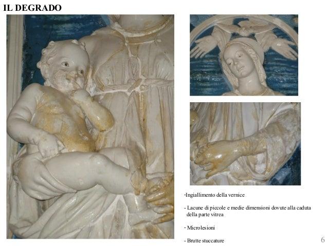IL DEGRADO  6  -Ingiallimento della vernice  - Lacune di piccole e medie dimensioni dovute alla caduta  della parte vitrea...