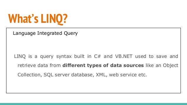 LINQ in C#