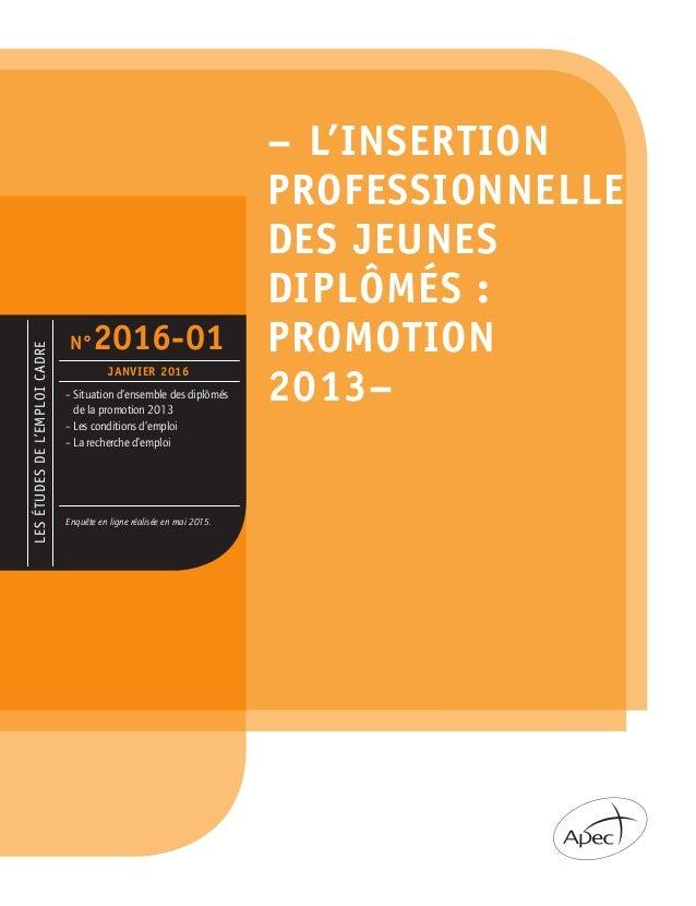 LESÉTUDESDEL'EMPLOICADRE –Situation d'ensemble des diplômés de la promotion 2013 –Les conditions d'emploi –La recherche...