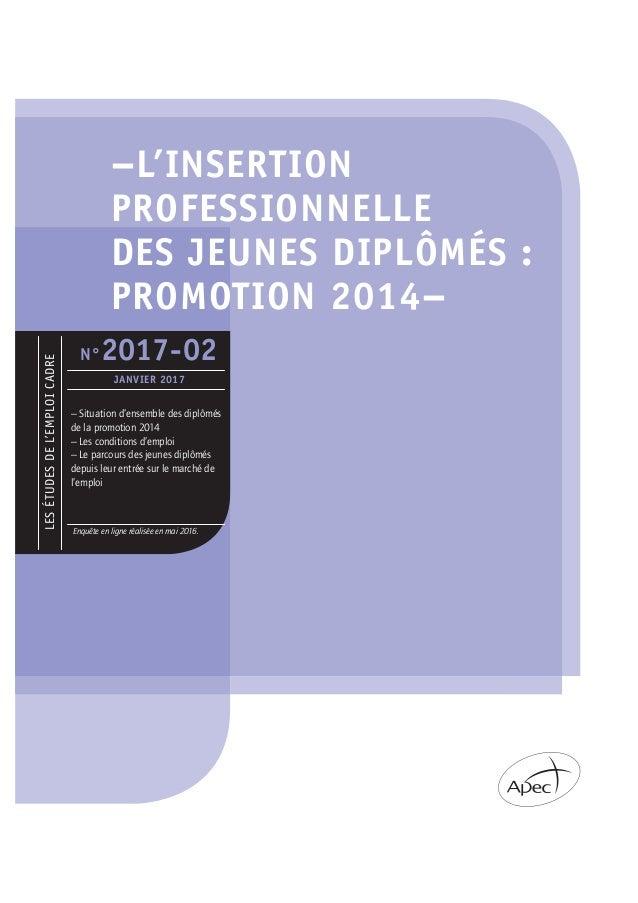 –L'INSERTION PROFESSIONNELLE DES JEUNES DIPLÔMÉS : PROMOTION 2014– LESÉTUDESDEL'EMPLOICADRE Enquête en ligne réalisée en m...