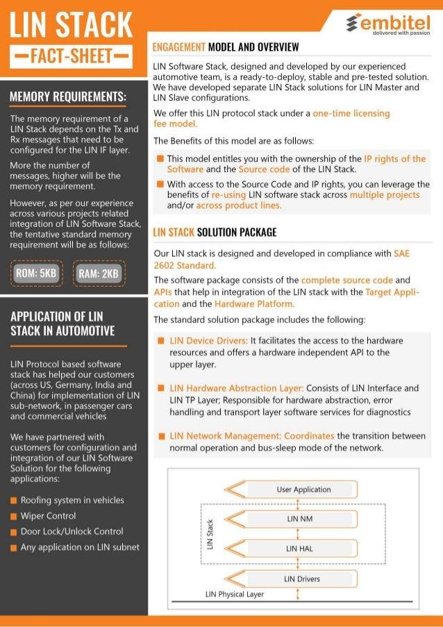 Fact Sheet: LIN BUS | Automotive Stack | LIN Protocol PDF
