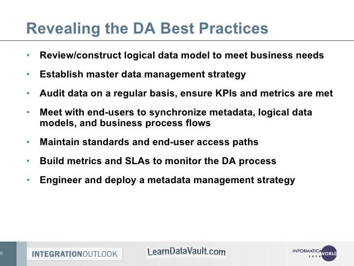 Revealing the DA Best Practices <ul><li>Review/construct logical data model to meet business needs </li></ul><ul><li>Estab...