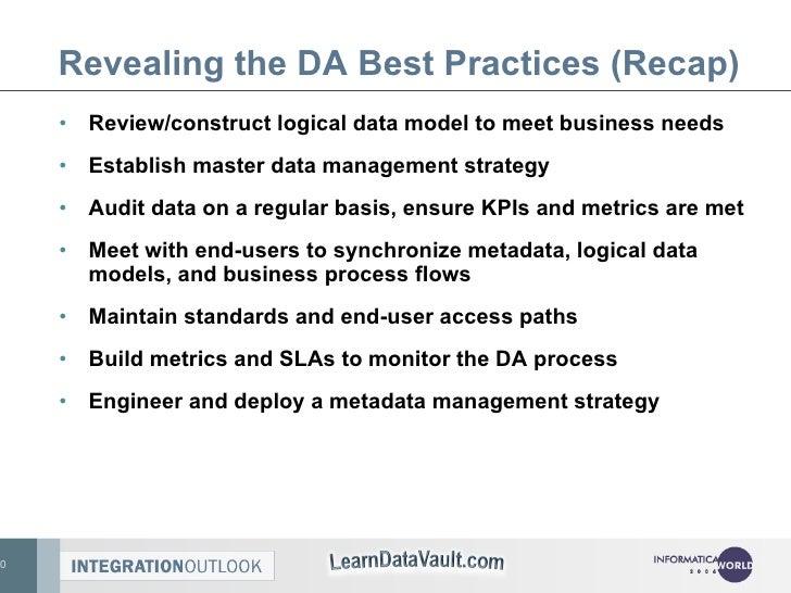Revealing the DA Best Practices (Recap) <ul><li>Review/construct logical data model to meet business needs </li></ul><ul><...