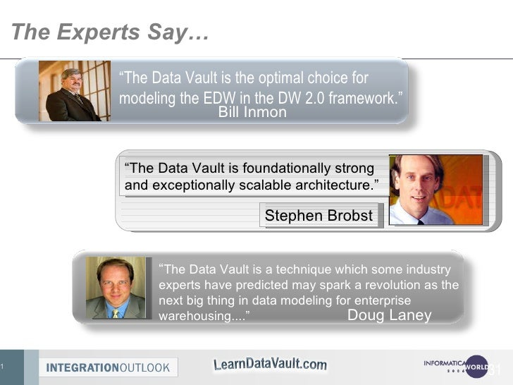 """The Experts Say… """" The Data Vault is the optimal choice for modeling the EDW in the DW 2.0 framework.""""  Bill Inmon <ul><ul..."""