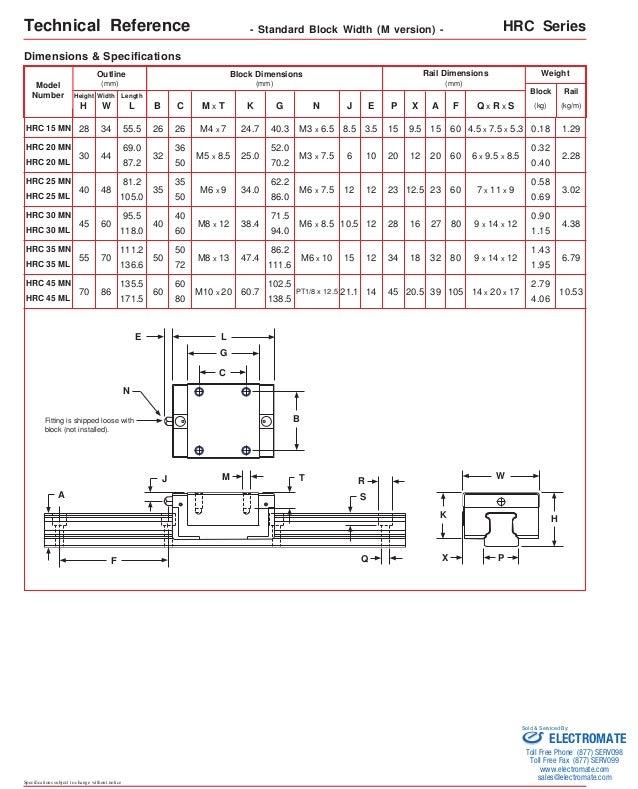 Lin tech arc_hrc_profile_rail_specsheet