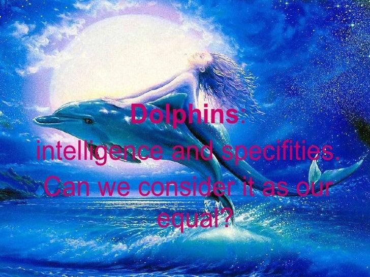 <ul><li>Dolphins :  </li></ul><ul><li>intelligence and specifities. </li></ul><ul><li>Can we consider it as our equal?   <...