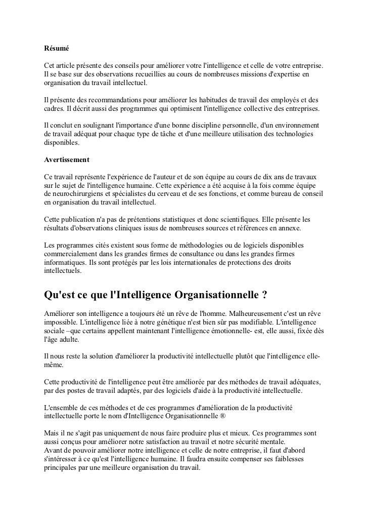 L'intelligence organisationnelle Slide 2