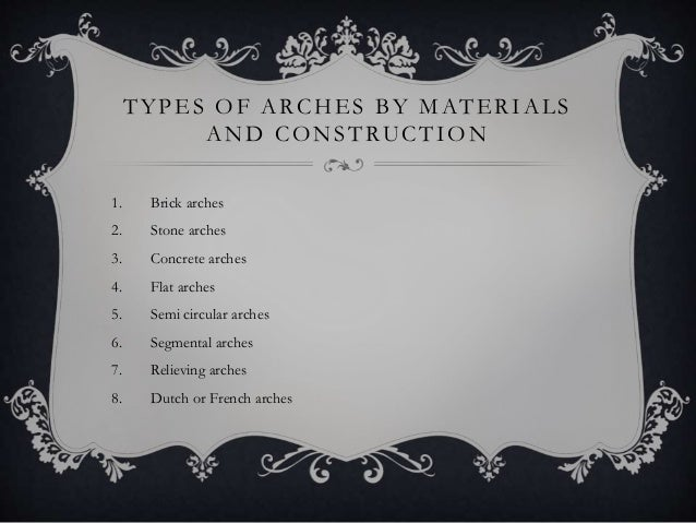 TYPES OF ARCHES BY MATERIALS AND CONSTRUCTION 1. Brick arches 2. Stone arches 3. Concrete arches 4. Flat arches 5. Semi ci...