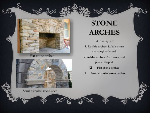 STONE ARCHES  Two types: 1. Rubble arches: Rubble stone and roughly shaped. 2. Ashlar arches: Arch stone and proper shape...