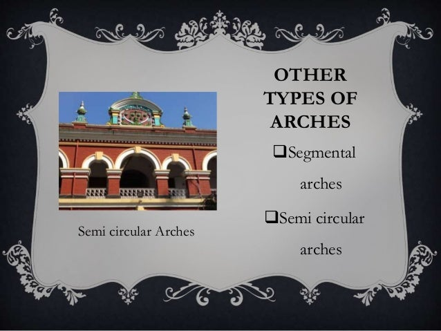 OTHER TYPES OF ARCHES Segmental arches Semi circular arches Semi circular Arches