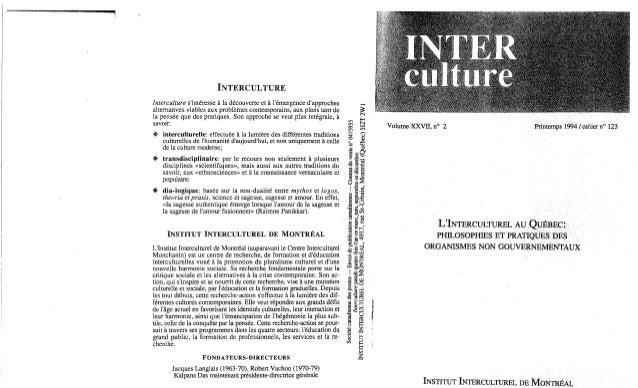 L'interculturel au québec philosophies et pratiques des organismes non gouvernementaux