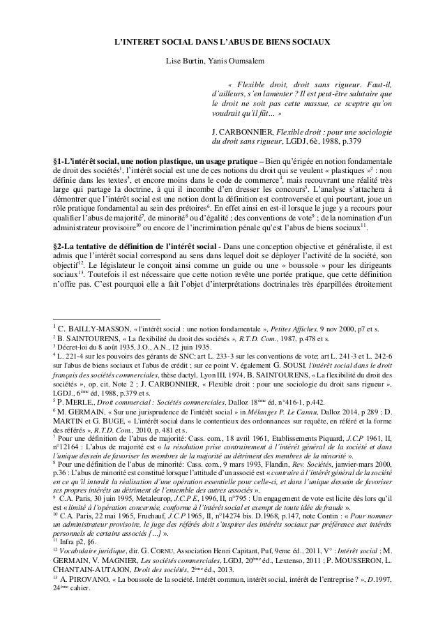 L'INTERET SOCIAL DANS L'ABUS DE BIENS SOCIAUX Lise Burtin, Yanis Oumsalem « Flexible droit, droit sans rigueur. Faut-il, d...
