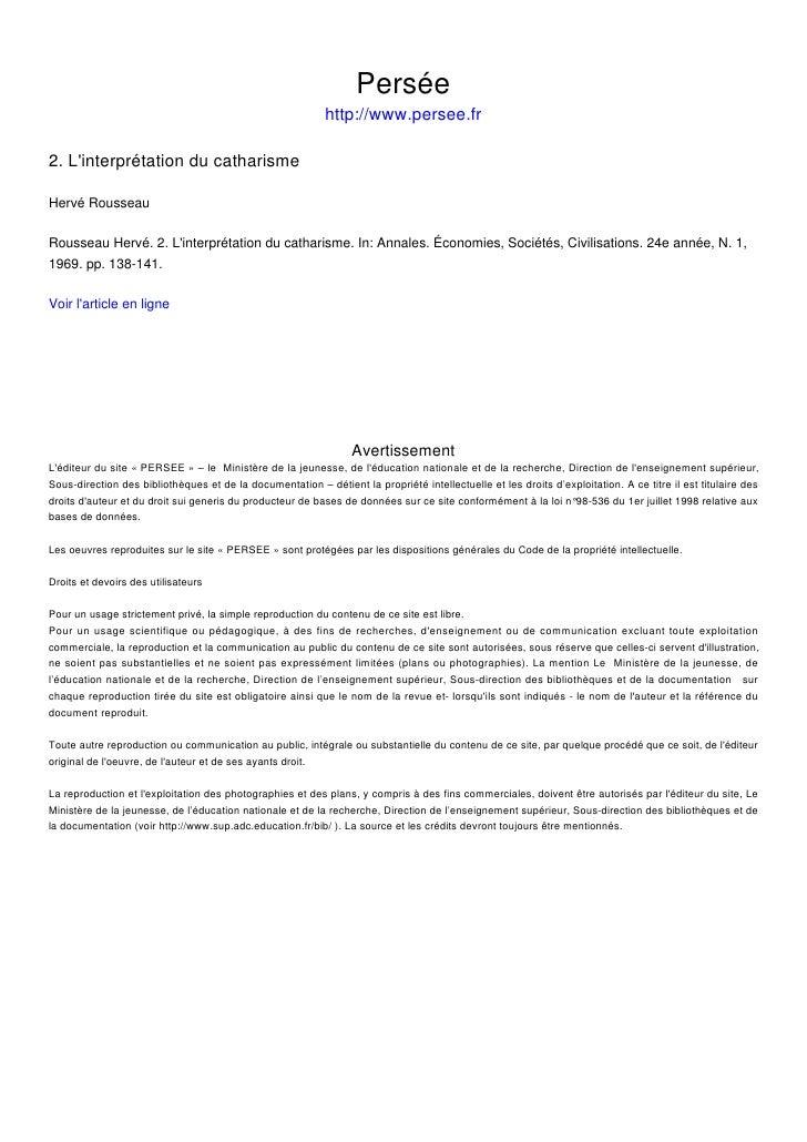 Persée                                                             http://www.persee.fr  2. L'interprétation du catharisme...