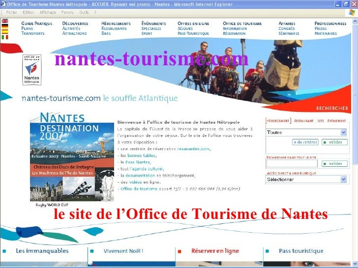 le site de l'Office de Tourisme de Nantes nantes-tourisme.com