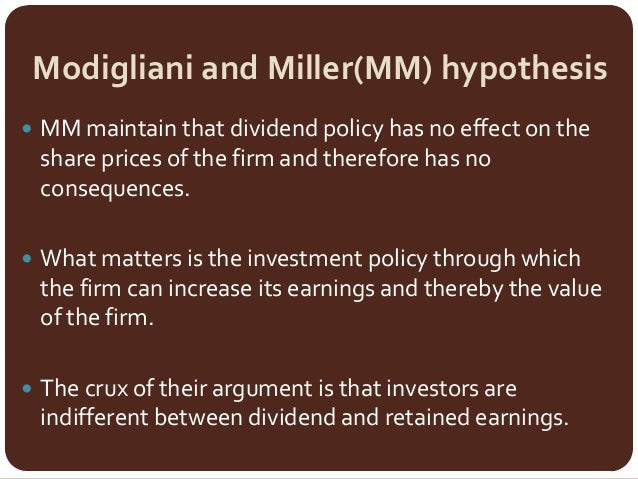 Effect of dividend policy on share