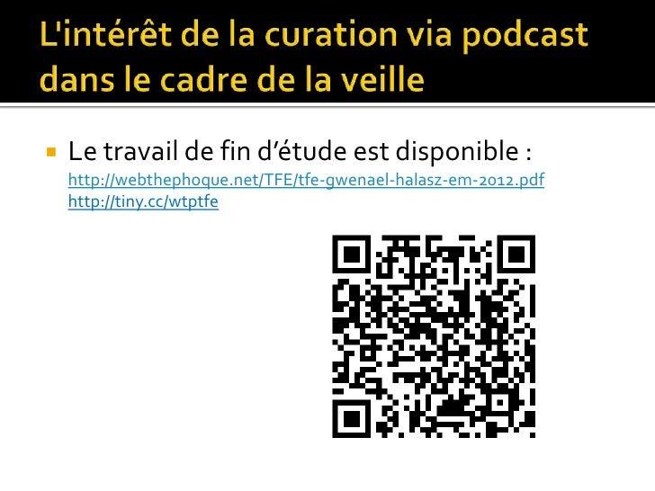    Le travail de fin d'étude est disponible :    http://webthephoque.net/TFE/tfe-gwenael-halasz-em-2012.pdf    http://tin...