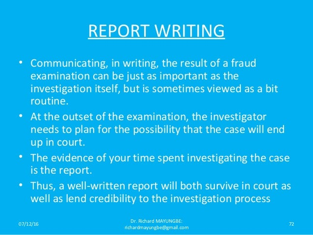 investigation techniques Anticorruption investigation and trial guide tools and techniques to investigate and try the corruption case disclaimer the author's views expressed in this publication do not necessarily reflect the views of the.