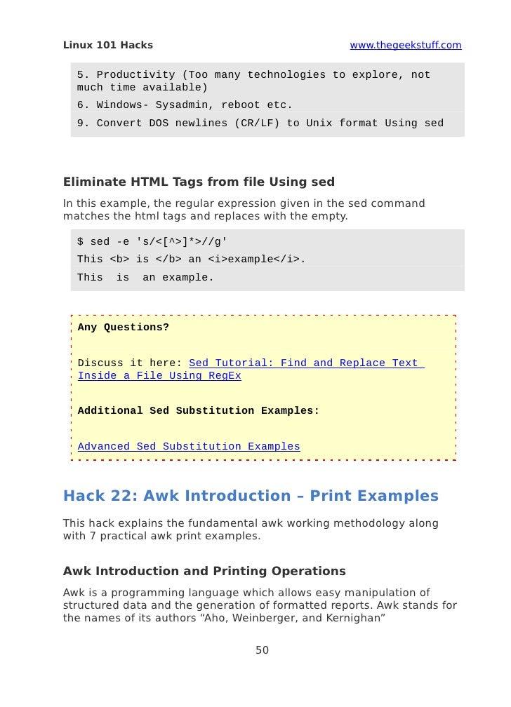Sed And Awk 101 Hacks Ebook