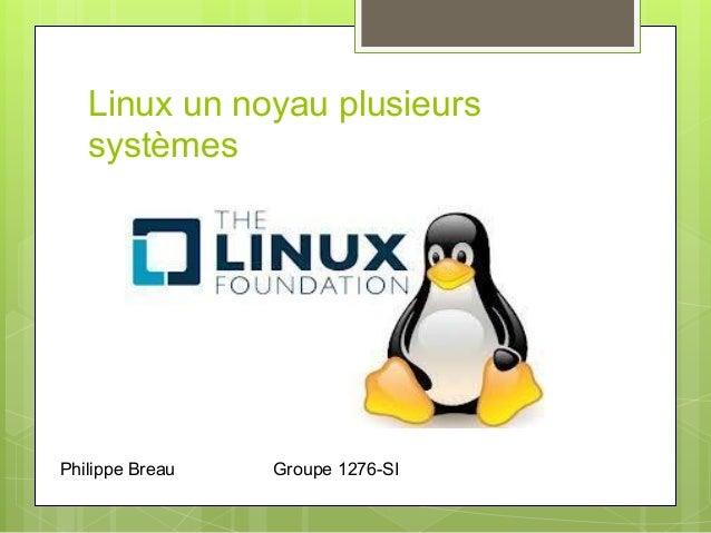Linux un noyau plusieurssystèmesPhilippe Breau Groupe 1276-SI