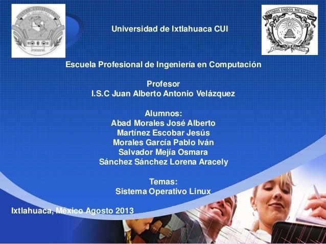 Company LOGO Escuela Profesional de Ingeniería en Computación Profesor I.S.C Juan Alberto Antonio Velázquez Alumnos: Abad ...