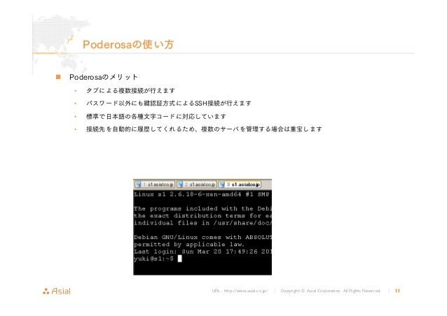 URL : http://www.asial.co.jp/ │ Copyright © Asial Corporation. All Rights Reserved. │ 11 Poderosaの使い方 Poderosaのメリット • タブによ...