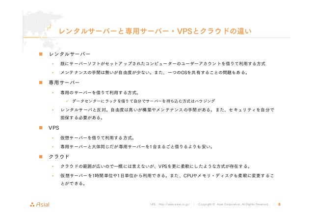URL : http://www.asial.co.jp/ │ Copyright © Asial Corporation. All Rights Reserved. │ 6 レンタルサーバーと専用サーバー・VPSとクラウドの違い レンタルサー...