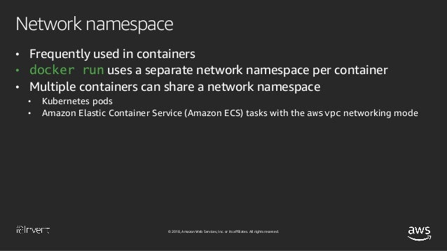 © 2018, Amazon Web Services, Inc. or its affiliates. All rights reserved. Mount namespace • Used for giving containers the...