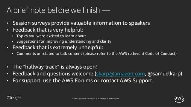 Thank you! © 2018, Amazon Web Services, Inc. or its affiliates. All rights reserved. Samuel Karp @samuelkarp