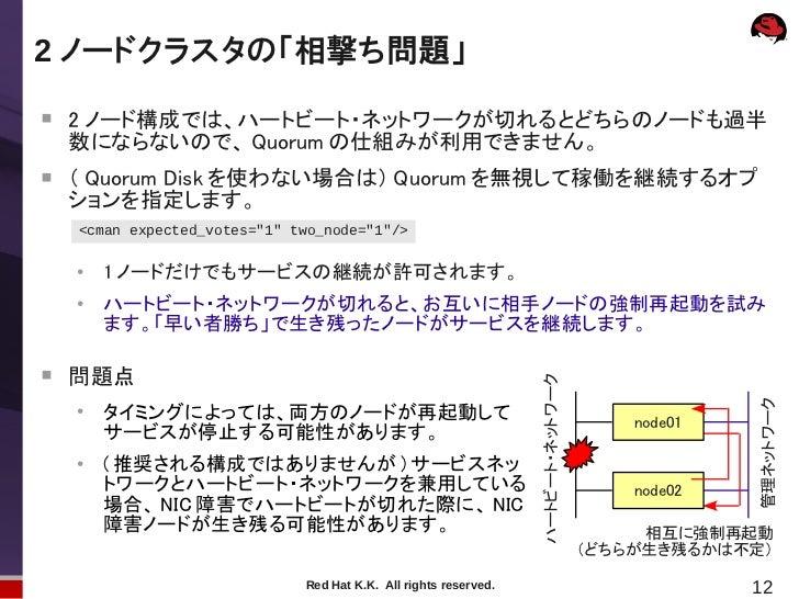 2 ノードクラスタの「相撃ち問題」    2 ノード構成では、ハートビート・ネットワークが切れるとどちらのノードも過半    数にならないので、 Quorum の仕組みが利用できません。    ( Quorum Disk を使わない場合は)...