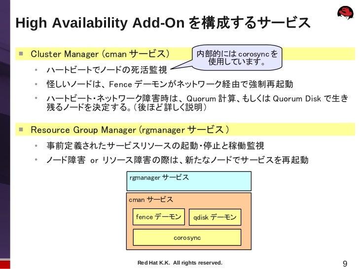 High Availability Add-On を構成するサービス    Cluster Manager (cman サービス)                内部的には corosync を                        ...