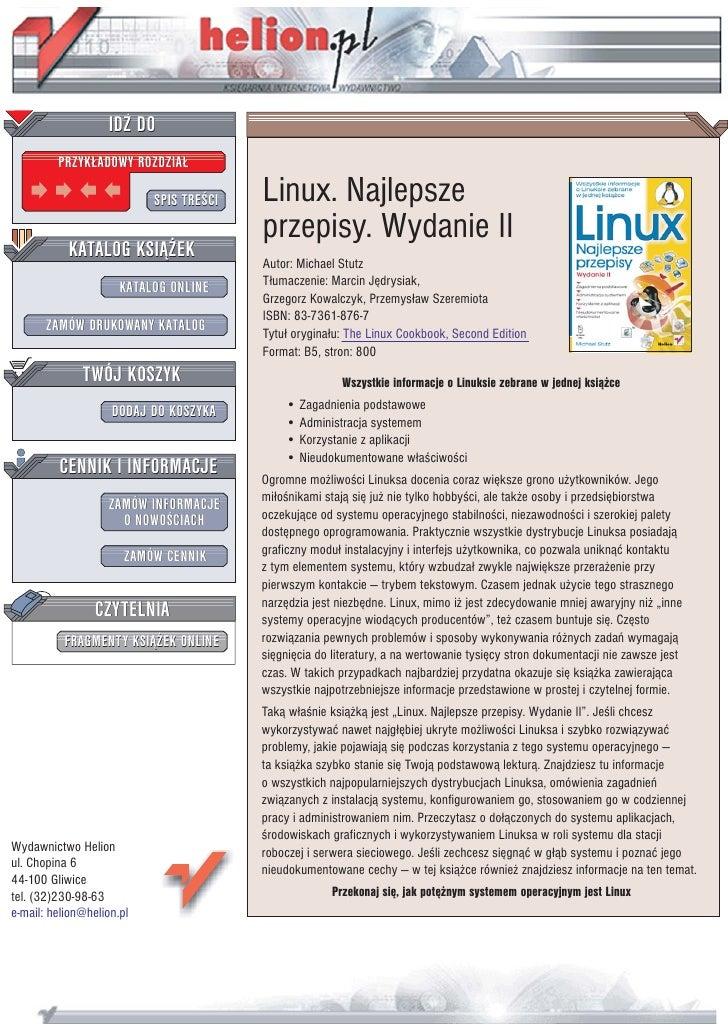 IDZ DO          PRZYK£ADOWY ROZDZIA£                             SPIS TREŒCI   Linux. Najlepsze                           ...