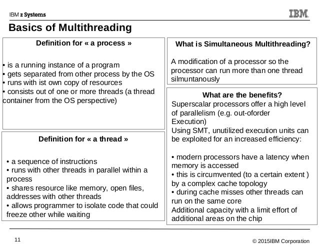© 2015IBM Corporation11 Basics of Multithreading Definition for « a process » • is a running instance of a program • gets ...