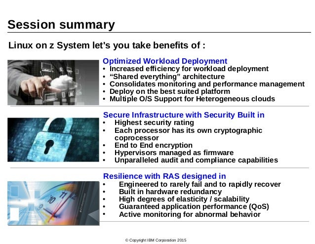 © Copyright IBM Corporation 2015 Session summary Optimized Workload Deployment • Increased efficiency for workload deploym...