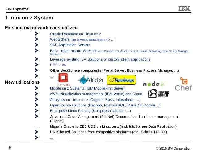 © 2015IBM Corporation9 Existing major workloads utilized Oracle Database on Linux on z WebSphere (App Servers, Message Bro...