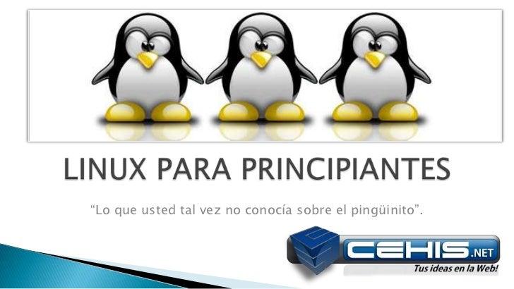 """LINUX PARA PRINCIPIANTES<br />""""Lo que usted tal vez no conocía sobre el pingüinito"""".<br />"""