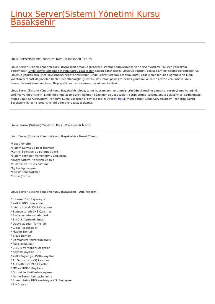 Linux Server(Sistem) Yönetimi KursuBaşakşehirLinux Server(Sistem) Yönetimi Kursu Başakşehir TanımıLinux Server(Sistem) Yön...