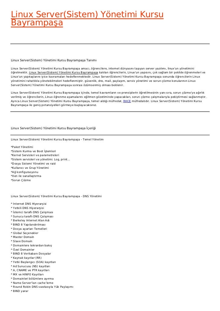 Linux Server(Sistem) Yönetimi KursuBayrampaşaLinux Server(Sistem) Yönetimi Kursu Bayrampaşa TanımıLinux Server(Sistem) Yön...