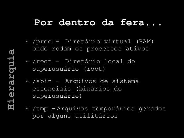 Por dentro da fera... /proc - Diretório virtual (RAM) onde rodam os processos ativos /root - Diretório local do superusuár...