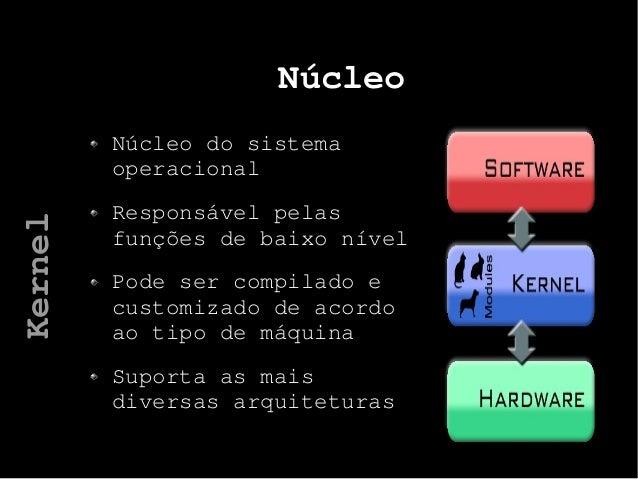 Núcleo Núcleo do sistema operacional Responsável pelas funções de baixo nível Pode ser compilado e customizado de acordo a...