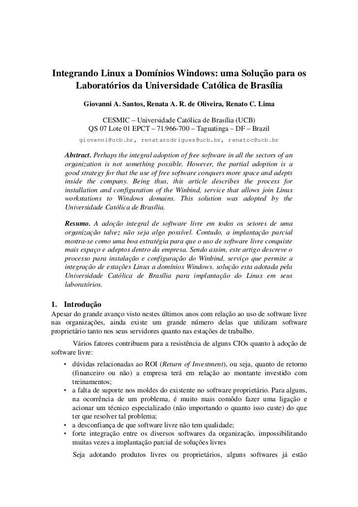 IntegrandoLinuxaDomíniosWindows:umaSoluçãoparaos     LaboratóriosdaUniversidadeCatólicadeBrasília           ...