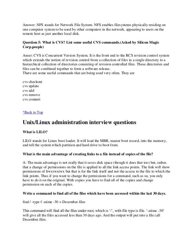 answer nfs stands for network - Network Administrator Interview Questions And Answers