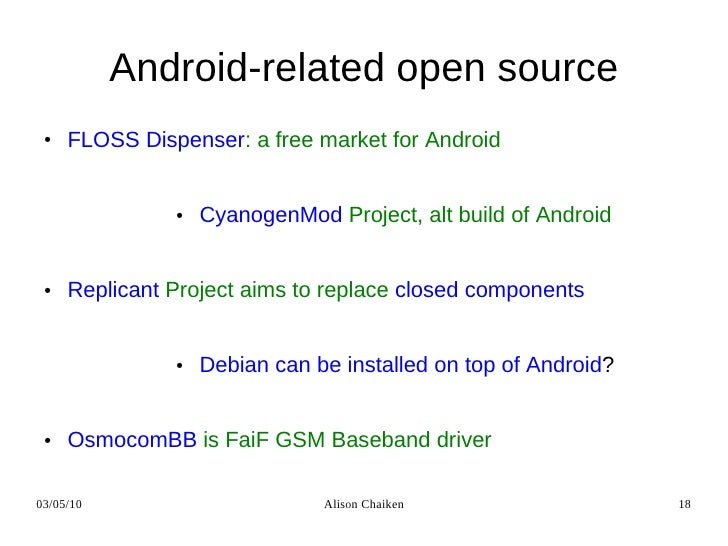 Linux, Android and Open Source in the Mobile Environment