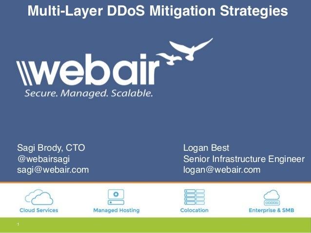 1 Multi-Layer DDoS Mitigation Strategies Sagi Brody, CTO @webairsagi sagi@webair.com Logan Best Senior Infrastructure Engi...