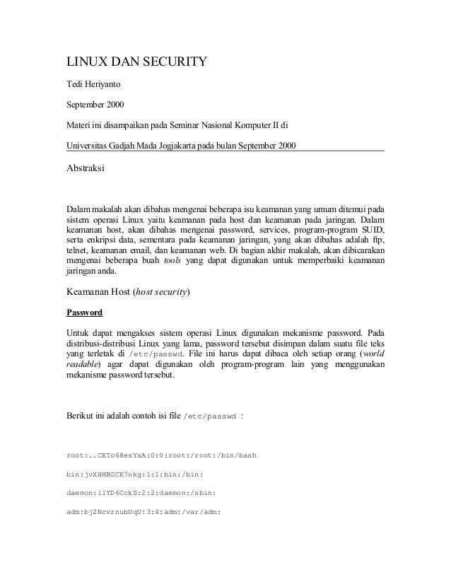 LINUX DAN SECURITY Tedi Heriyanto September 2000 Materi ini disampaikan pada Seminar Nasional Komputer II di Universitas G...