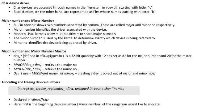 identifyng device major and minor numbers