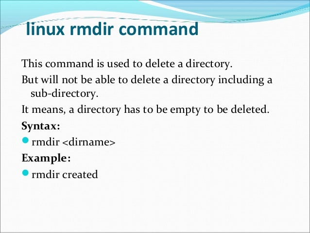 rmdir command in linux