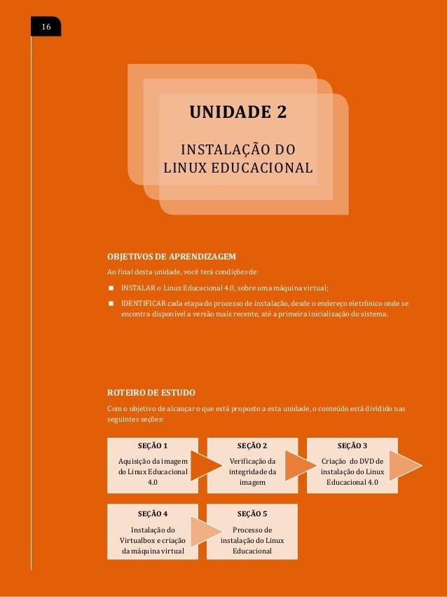 P                                                 INSTALAÇÃO DO LINUX EDUCACIONAL   17SEÇÃO 1 Aquisição da imagem do Linux...