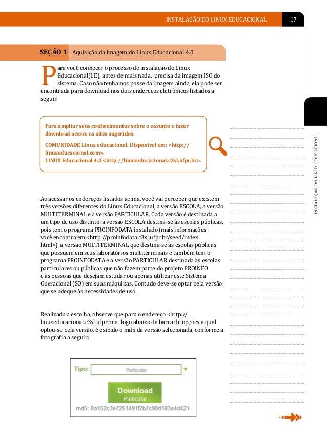 O                    18   LINUX EDUCACIONAL                                                    SEÇÃO 2 Verificação da inte...