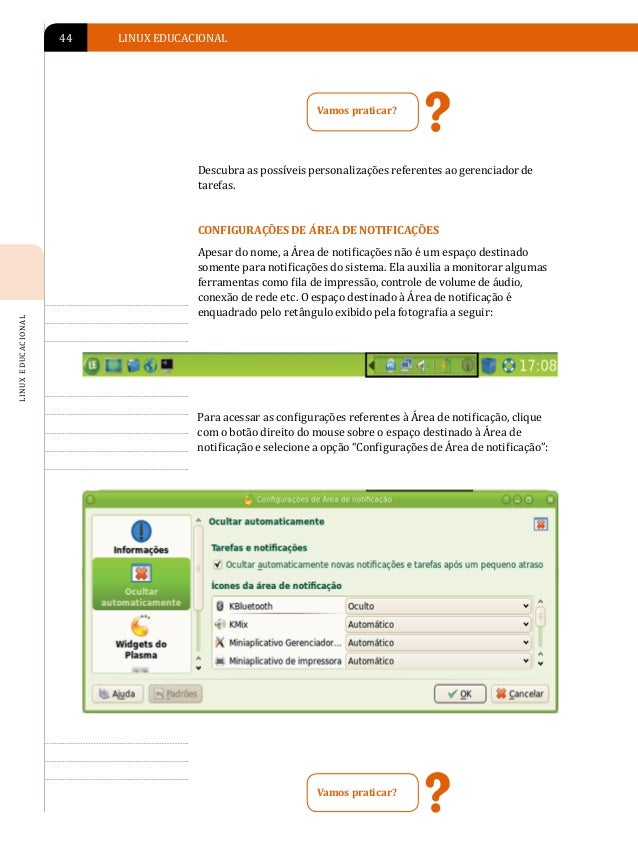 APRESENTAÇÃO DO AMBIENTE LINUX EDUCACIONAL 4.0   45Descubra as possíveis personalizações referentes à Área de notificação....