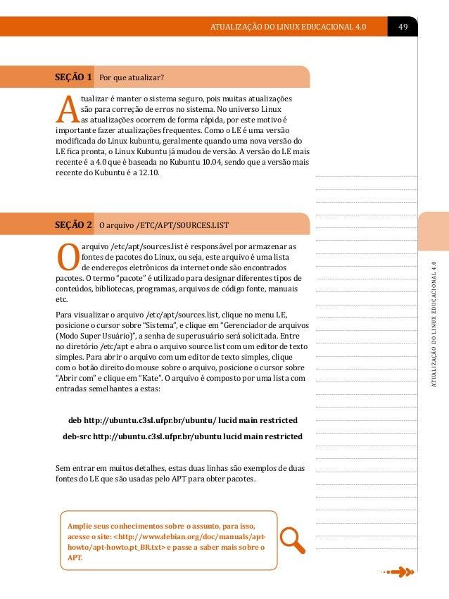 A                    50   LINUX EDUCACIONAL                                                     SEÇÃO 3 Como atualizar o L...